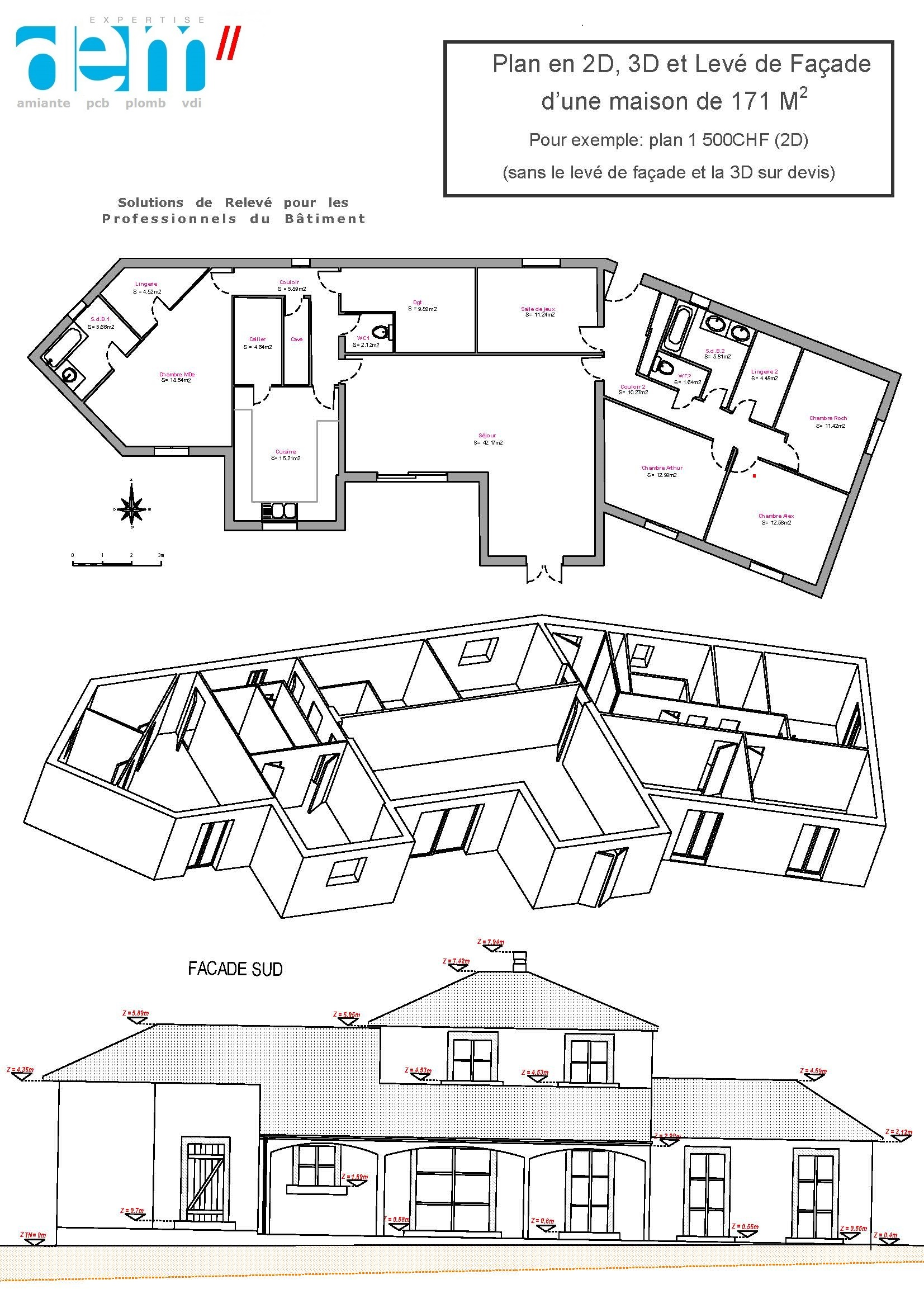 Plan d 39 une maison 2d 3d et fa ade for Plan facade maison
